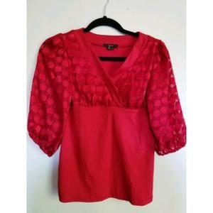 Takara Junior Womens Sz L Red Blouse Top(C)